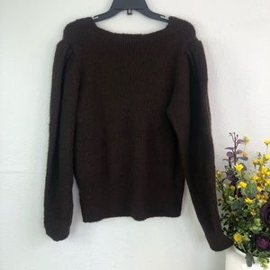 Something Navy Sweaters - Something navy puff sleeve sweater brown neutral